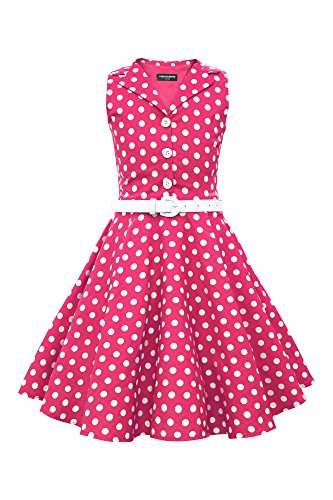 BlackButterfly Kids 'Holly' Vintage Polka Dot 50's Girls Dress (Pink, 7-8 YRS) for $<!--$37.99-->