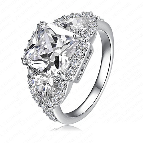 FENDINA Womens 18K White Gold Plated 3 Stone CZ Crystal Eternity Promise Ring Engagement Wedding Bands