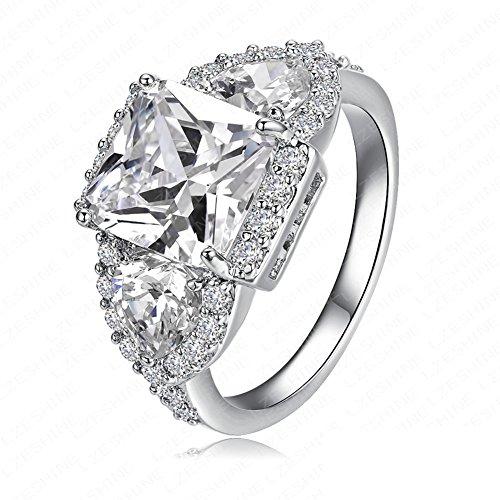 FENDINA Womens 18K White Gold Plated 3 Stone CZ Crystal Eternity Promise Ring Engagement Wedding Bands