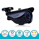 EWETON 1/3'' 960H 1000TVL CCTV Home Surveillance Camera 3.6mm Lens 36PCS Infrared LEDs IR Cut 100ft Night Vision Indoor Outdoor Weatherproof Security Camera (Metal Housing Black)