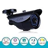EWETON 1/3 960H 1000TVL CCTV Home Surveillance Camera 3.6mm Lens 36PCS Infrared LEDs IR Cut 100ft Night Vision Indoor Outdoor Weatherproof Security Camera (Metal Housing Black)