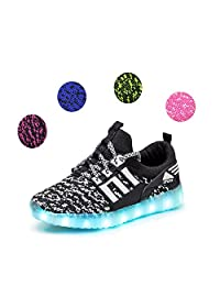 Kids LED Luminous Light Up Shoes 7-Color Boys Girls Sisters Brothers USB Charging Flashing Sneakers Breathable Lightweight Shoes New Year Spring Festival Birthday Gift