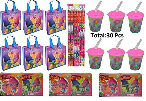 Assorted Party Favor Trolls Small Non-Woven Tote Bag, 17 oz Water Bottle, Puzzles & Pencil- 30 (Non Woven Bottle)