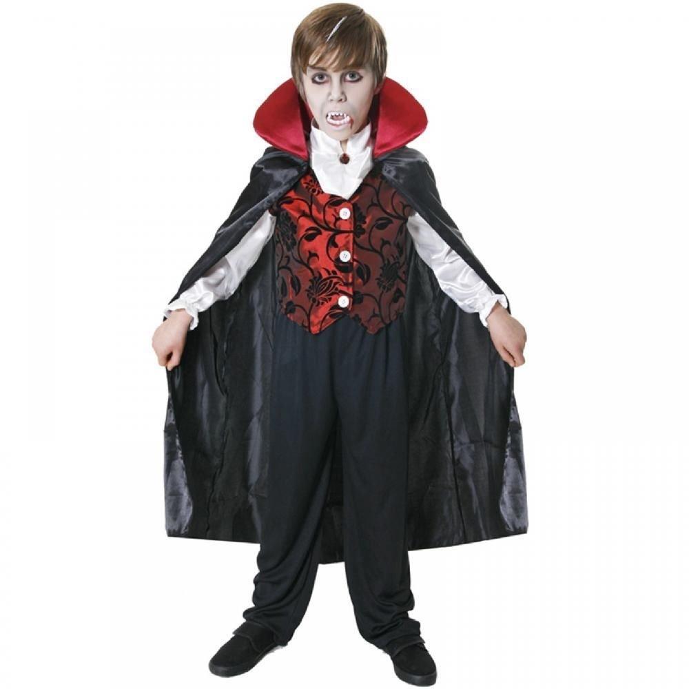Deluxe Vampir Kostüm Dracula Umhang Kinder Halloween Kostüm - 7-9 Jahre