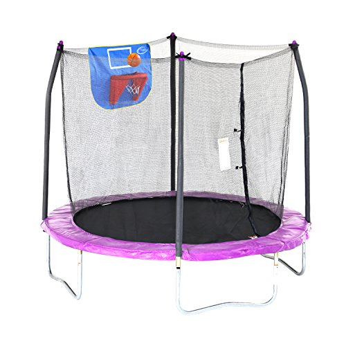 Skywalker Trampolines 8-Foot Jump N' Dunk Trampoline with Enclosure Net – Added Safety Features – Meets or Exceeds ASTM – Made to Last – Basketball Trampoline – Sports Center Store