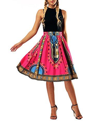 Haililais Femme Jupe Court Loisir Jupe Plisse Taille Haute Femelle Skirt ImprimEs Vintage Jupe A-Line Amincissante Skirt Grande Taille Jupe Red