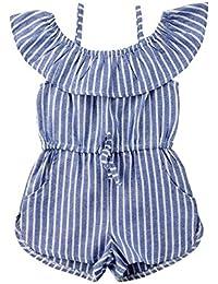 ee10e6d605d Toddler Little Girl Demin Off Shoulder Ruffle Pocket Romper Jumpsuit  Clothes Set