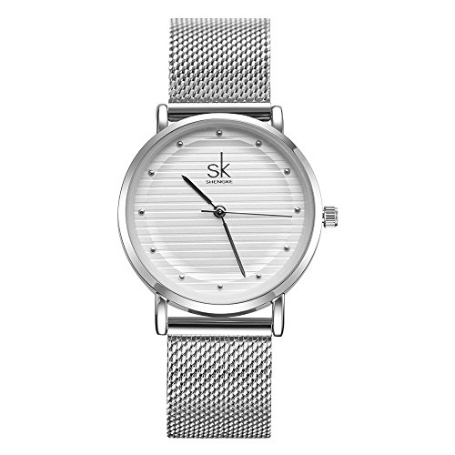 SK Best Watches for Women Stainless Steel Band Ladies Wristwatch Women for Sale Quartz Discount Watch (Silver-Case) (Designer Watch Silver)