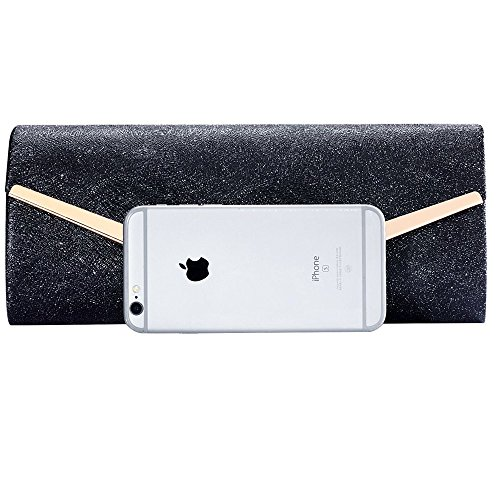 Women Envelope Evening Bag Clutches Bag Handbags Shouder Bags Wedding Purse with Detachable Chain (black) by Hibags (Image #1)