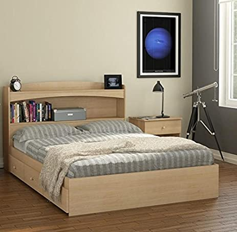 amazon com alegria bookcase storage bed with night stand full home