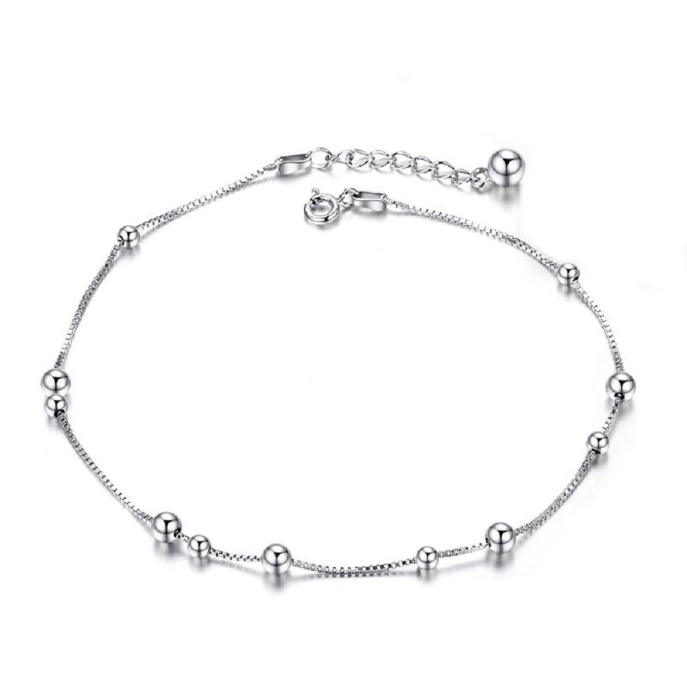 925 Sterling Silver Anklet Chain Charm Bead for Women Girl Summer,8.6'-10'Adjustable Length