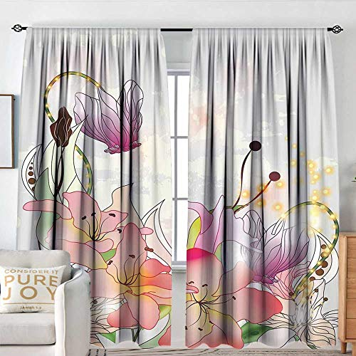 NUOMANAN Sheer Curtains Floral,Lily Blossoms in Soft Pastel Tones Enchanted Bridal Inspired Romance Kitsch Print,Multicolor,Decor Collection Thermal/Room Darkening Window Curtains 72