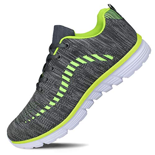 Cheap Hawkwell Men's Knit Running Shoes Lightweight Breathable Athletic Tennis Walking Gym Shoes,Grey Green Knit,8.5 M US hawkwell shoes