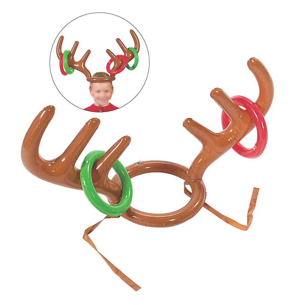4c59e927de22b Amosfun 3pcs PVC Inflatable Reindeer Antler Toss Game Christmas Hat Antler  Ring Toss Holiday Party Game Toys Christmas Decoration Children s Party ...
