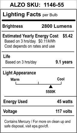 2800 Lumens 120V Pack of 4 Daylight White Light ALZO Digital H/&PC-51613 ALZO 45W Joyous Light Full Spectrum CFL Light Bulb 5500K