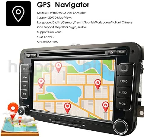 hizpo HD 7 Inch Double Din Car Stereo GPS DVD Navi for VW Golf Polo Passat Tiguan Jetta EOS+US Map+Camera Capacitive Screen