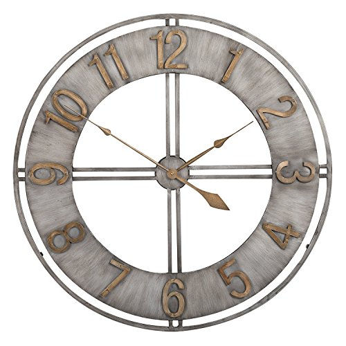 Hunter Garden Crafts Decorative Metal Wall Clock 23'' (Silver) by Hunter Garden Crafts