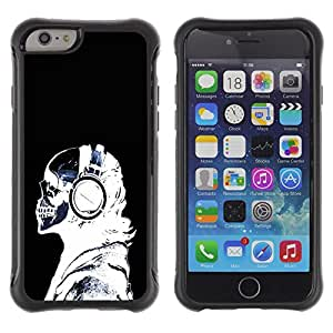 All-Round híbrido Heavy Duty de goma duro caso cubierta protectora Accesorio Generación-II BY RAYDREAMMM - Apple iPhone 6 - Headphones Skeleton Art Bones Profile Portrait