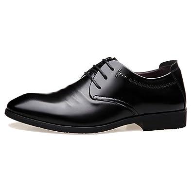 LYZGF Hommes Jeunes Quatre Saisons Business Casual Mode Retro Lacets Chaussures En Cuir,Black-38