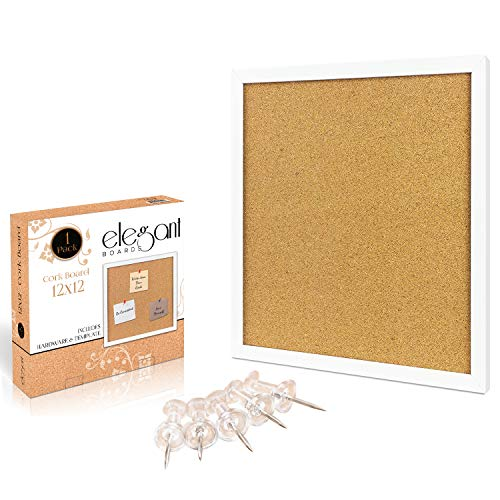 "Elegant Boards Cork Bulletin Board 12""X 12"" Square Wall Tile , Modern White Framed Board For Home And Office (Hardware And Template Included)"