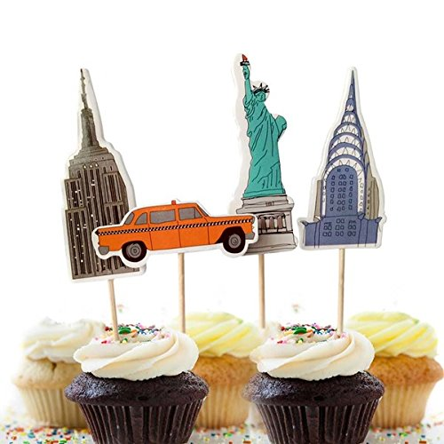 Value Pack- 24 Cupcake Toppers Picks- Various Themes (New York (Party City Cake Decorations)