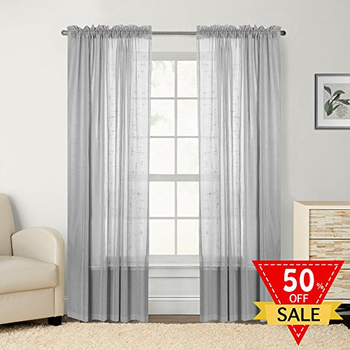 Faux Linen White Sheer Curtains/Drapes for Bedroom Window (Pack of 2 Panels, 2 Tie Back Included, W52 by L84 Inch, Light Gray) Gray Sheer Curtains