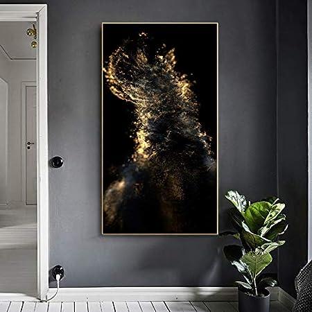Cuadro abstracto en lienzo dorado y negro Cuadro de arte de pared para sala de estar Escandinavo Moderno nórdico Carteles e impresiones Cuadros 70x140CM SIN marco