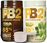 PB2 Powdered Peanut Butter Plain & Chocolate Combo 2 Pack with BONUS Scoop and 3 Delicious PB2 Recipes, 2 1lbs jars from Bell Plantation
