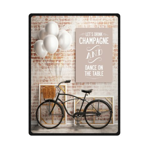 Discount 58''x 80'' (Large) Cotton Blankets and Throws with Champagne And Dance And Bicycle Theme by Fleece Blanket