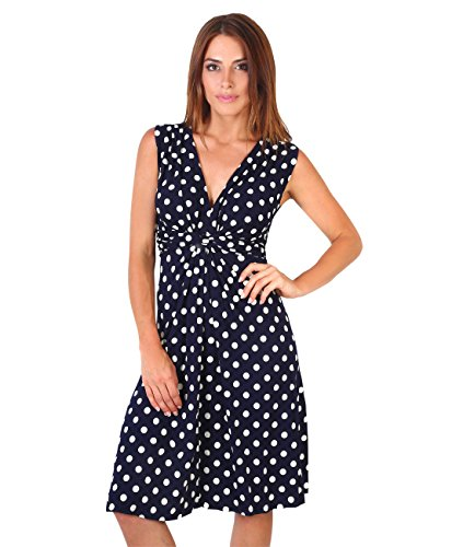 KRISP FBA6147-NVYWHT-18 Knot Front Dress, Navy/White,(14),XX-Large ()