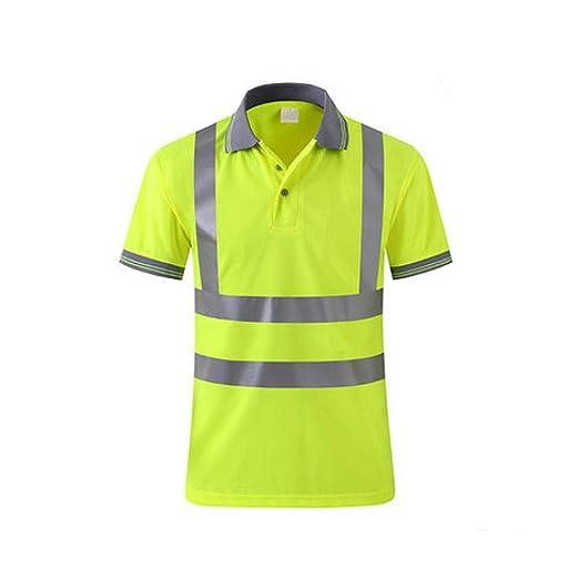 OWSOO Camiseta de Trabajo Hombre Reflectante Alto Visible Camisa ...