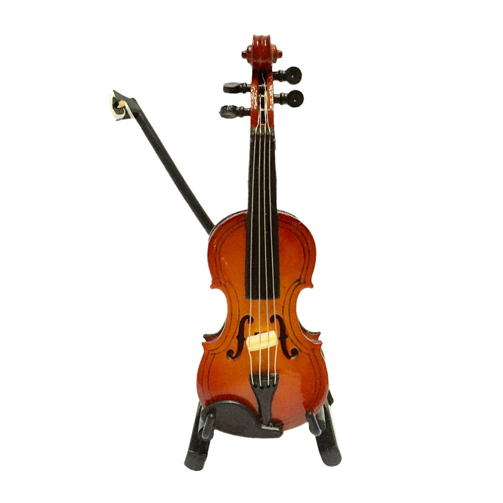 MagiDeal 1/12 Dolls House Miniature Musical Instrument Wooden Violin with Case Stand STK0157007803