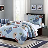 Mi-Zone Kids Ahoy Matey Twin Kids Bedding Sets for Boys - Sky Blue, Ocean Pirates Treasure Island – 6 Pieces Boy Comforter Set – Ultra Soft Microfiber Kid Childrens Bedroom Comforters