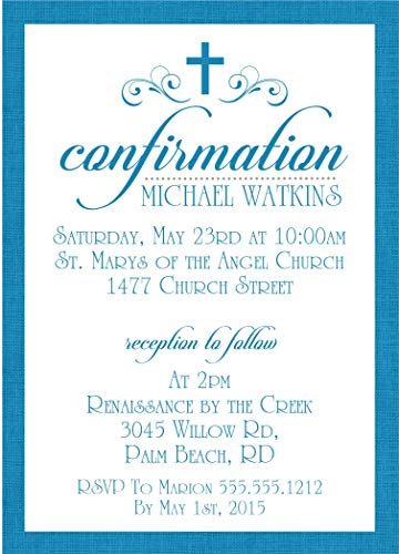 Royal Blue Personalized Baptism Invitation, Blue Christening Invitation, Boys First Communion Invitation or Baby Dedication Invitations