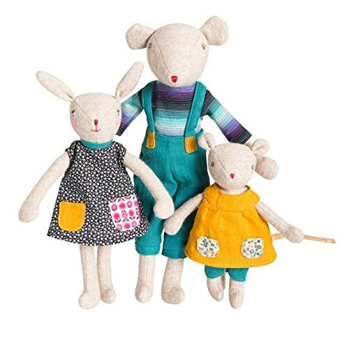 - Moulin Roty - Famille Mirabelle collection - Set of Three Plush Dolls - Children Noisette, Camomile, and Groseille