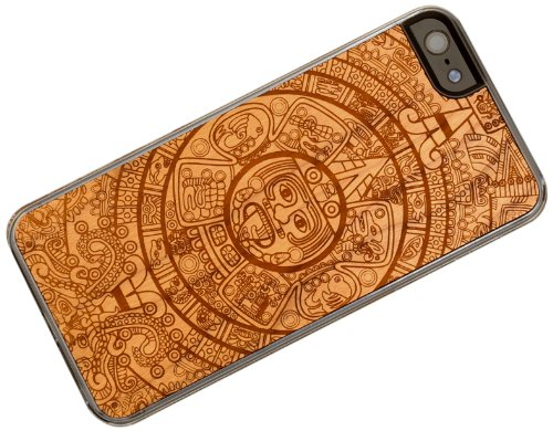 Carved Cherry Wood Clear Case For Iphone 5 Aztec Calendar I5 Cc1k E Aztec