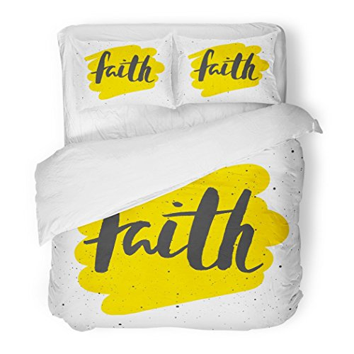 SanChic Duvet Cover Set Yellow Quote Faith Lettering Design Church Vintage Jesus Bible Text Decorative Bedding Set 2 Pillow Shams King Size by SanChic