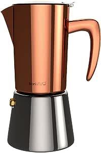 bonVIVO Intenca Stovetop Espresso Maker, Italian Espresso Coffee Maker, Stainless Steel Espresso Maker Machine for Full Bodied Coffee, Espresso Pot for 5-6 Cups, 11.8oz Moka Pot Copper Chrome Finish