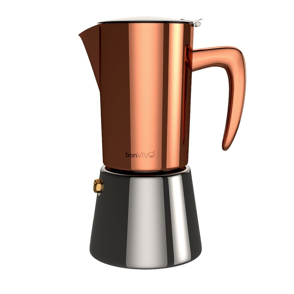 bonVIVO Intenca Stovetop Espresso Maker, Italian Espresso Coffee Maker, Stainless Steel Espresso Maker Machine For Full Bodied Coffee, Espresso Pot For 5-6 Cups, Moka Pot With Copper Chrome Finish by bonVIVO