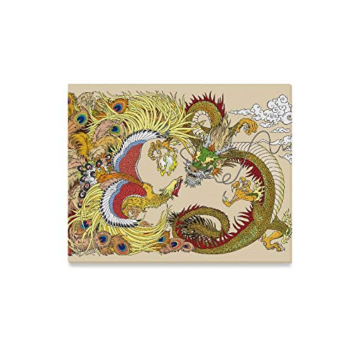 WIEDLKL Wall Art Painting Chinese Dragon and Phoenix Feng Huang Playing with Prints On Canvas The Picture Landscape Pictures Oil for Home Modern Decoration Print Decor for Living Room