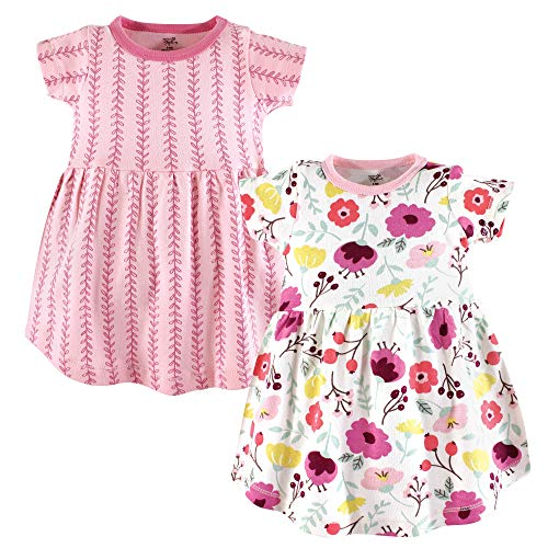 Touched by Nature Baby Girl Organic Cotton Dresses, Botanical Short Sleeve 2-Pack, 9-12 Months -