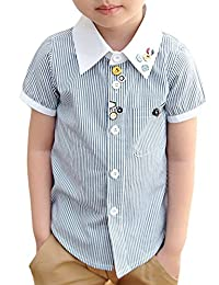 uxcell® Boy Single Breasted Buttons Decor Stripes Shirt