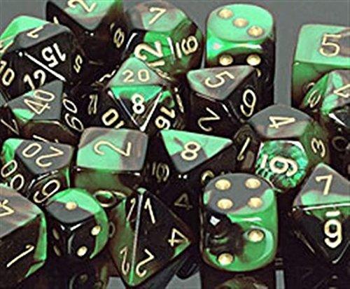 Polyhedral 7-Die Gemini Dice Set - Black & Green with Gold (d4, d6, d8, d10, d12, d20 & d00)