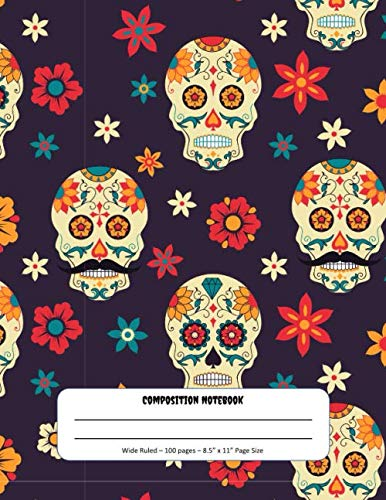 Graveyard Girl Halloween Treat Bags (Composition Notebook: Halloween Sugar Skulls Theme - Wide Ruled Pages - Perfect for Writing & Drawing at Home or)