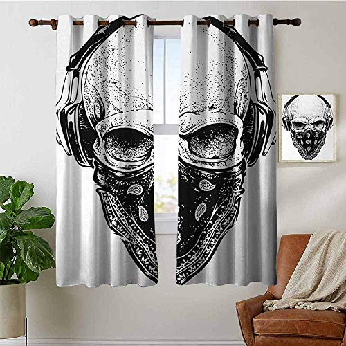 (petpany Living Room Curtains Grunge,Gothic Skull with Bandanna and Headphones Musical Dead Man Artsy Illustration,Light Grey Black,Adjustable Tie Up Shade Rod Pocket Curtain 42