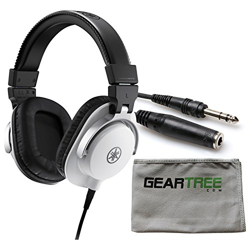 Yamaha HPH-MT5W Headphones (WHITE) w/Cleaning Cloth and Extension Cable