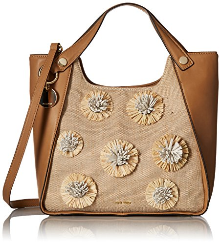 - Nine West Leannah Floral Pom Shopper with Shoulder Strap, Dark Camel Natural/Milk