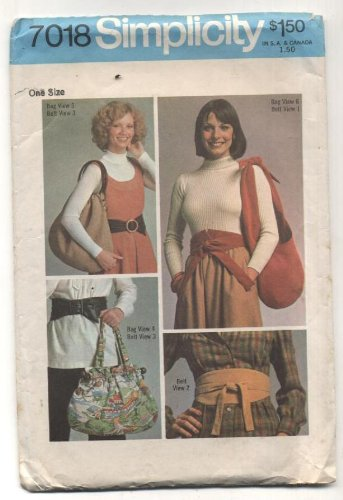 - Vintage 1975 Simplicity Pocketbooks, Totes, Bags, Belts Sewing Pattern #7018