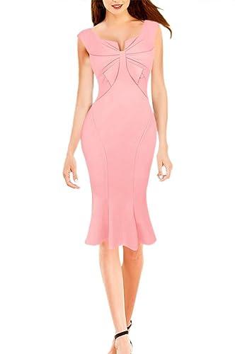LECHEERS Women Bodycon Elegant Bowknot Streth Cocktail Celebrity Dress