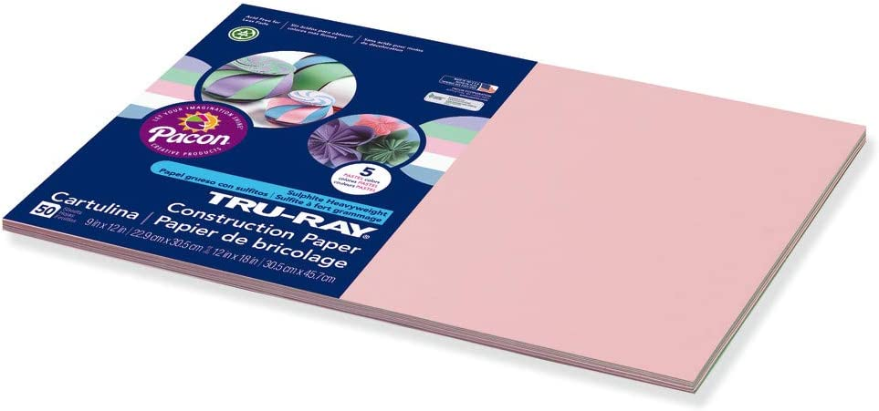 Pacon Tru-Ray Construction Paper 12 x 18 50 Sheets Pastel Assorted